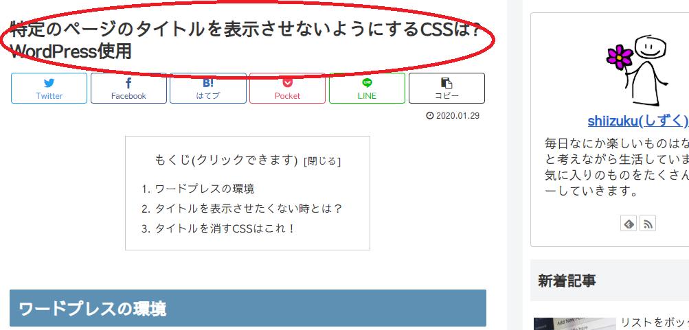 タイトル非表示ブログの画面